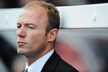 STOKE, UNITED KINGDOM - APRIL 11:  Alan Shearer interim manager of Newcastle United looks thoughtful prior to the Barclays Premier League match between Stoke City and Newcastle United at the Britannia Stadium on April 11, 2009 in Stoke, England.  (Photo b