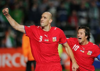 DUBLIN, IRELAND - OCTOBER 11:  Jan Koller of Czech Republic celebrates scoring the equalising goal with Tomas Rosicky during the Euro2008 Qualifier between Republic of Ireland and Czech Republic at Lansdowne Road on October 11, 2006 in Dublin, Ireland.  (