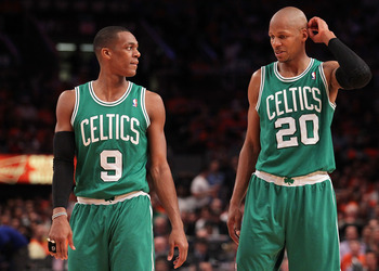 NEW YORK, NY - APRIL 24:  (L-R) Rajon Rondo #9 and Ray Allen #20 of the Boston Celtics talk on court against the New York Knicks in Game Four of the Eastern Conference Quarterfinals during the 2011 NBA Playoffs on April 24, 2011 at Madison Square Garden i