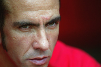 LONDON - SEPTEMBER 28:  Paolo Di Canio of Charlton Athletic looks on from the substitutes bench during the FA Barclaycard Premiership match between Charlton Athletic and Liverpool held on September 28, 2003 at The Valley, in London. Charlton Athletic won