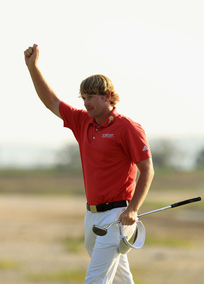 HILTON HEAD ISLAND, SC - APRIL 24:  Brandt Snedeker celebrates after defeating Luke Donald in a playoff on the 18th hole during the final round of The Heritage at Harbour Town Golf Links on April 24, 2011 in Hilton Head Island, South Carolina.  (Photo by