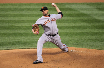 DENVER, CO - APRIL 19:  Starting pitcher Jonathan Sanchez #57 of the San Francisco Giants delivers against the Colorado Rockies at Coors Field on April 19, 2011 in Denver, Colorado. Sanchez earned the win as the Giants defeated the Rockies 6-3.  (Photo by