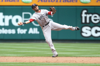 ANAHEIM, CA - APRIL 24: Second baseman Dustin Pedroia #15 of the Boston Red Sox throws to first but can't get Alberto Callaspo of the Los Angeles Angels of Anaheim on an infield single on April 24, 2011 at Angel Stadium in Anaheim, California.   (Photo by