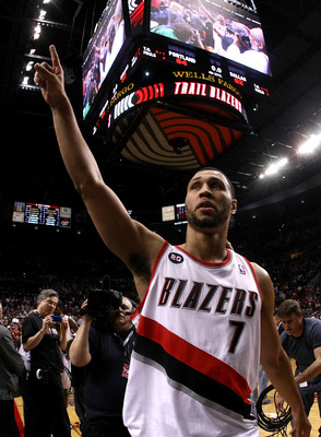PORTLAND, OR - APRIL 23:  Brandon Roy #7 of the Portland Trail Blazers walks off the court after overcoming a 23 point deficit to defeat the the Dallas Mavericks 84-82 in Game Four of the Western Conference Quarterfinals in the 2011 NBA Playoffs on April