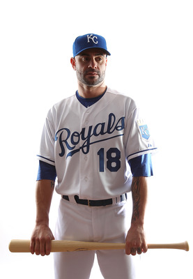 SURPRISE, AZ - FEBRUARY 23:  Jason Kendall #18 of the Kansas City Royals poses for a portrait during Spring Training Media Day on February 23, 2011 at Surprise Stadium in Surprise, Arizona..  (Photo by Jonathan Ferrey/Getty Images)