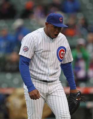CHICAGO, IL - APRIL 20: Carlos Marmol #49 of the Chicago Cubs talks to himself as he leaves the field in the 9th inning after giving up the tying run to the San Diego Padres at Wrigley Field on April 20, 2011 in Chicago, Illinois. The Cubs defeated the Pa