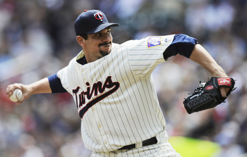 MINNEAPOLIS, MN - APRIL 24: Carl Pavano #48 of the Minnesota Twins pitches against the Cleveland Indians during in the first inning of their game on April 24, 2011 at Target Field in Minneapolis, Minnesota. (Photo by Hannah Foslien/Getty Images)