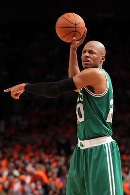 NEW YORK, NY - APRIL 24:  Ray Allen #20 of the Boston Celtics directs the offense against the New York Knicks in Game Four of the Eastern Conference Quarterfinals during the 2011 NBA Playoffs on April 24, 2011 at Madison Square Garden in New York City. NO
