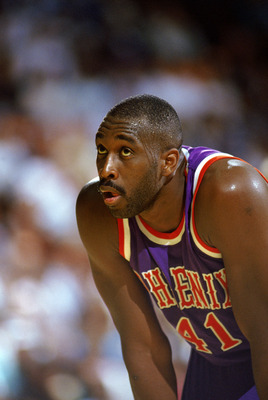 INGLEWOOD, CA - 1988:  Mark West #41 of the Phoenix Suns looks on against the Los Angeles Lakers during the game at the Great Western Forum in Inglewood, California. (Photo by Ken Levine/Getty Images)