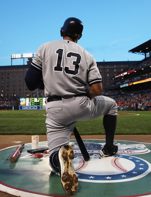 BALTIMORE, MD - APRIL 23:  Alex Rodriguez #13 of the New York Yankees waits to bat against the Baltimore Orioles at Oriole Park at Camden Yards on April 23, 2011 in Baltimore, Maryland.  (Photo by Rob Carr/Getty Images)