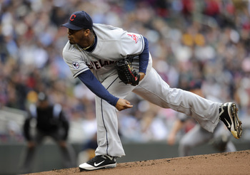 MINNEAPOLIS, MN - APRIL 23: Fausto Carmona #55 of the Cleveland Indians pitches against the Minnesota Twins during the first inning of their game on April 23, 2011 at Target Field in Minneapolis, Minnesota. (Photo by Hannah Foslien/Getty Images)