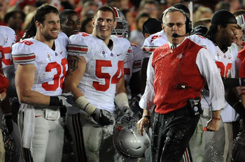 PASADENA, CA - JANUARY 01:  Head Coach Jim Tressel of the Ohio State Buckeyes reacts after players dumped gatorade on him in the final moments of the buckeyes 26-17 win over the Oregon Ducks in the 96th Rose Bowl game on January 1, 2010 in Pasadena, Calif