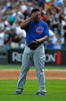 CHICAGO - JUNE 25: Starting pitcher Carlos Zambrano #38 of the Chicago Cubs reacts after giving up a three-run home run in the 1st inning to Carlos Quentin of the Chicago White Sox at U.S. Cellular Field on June 25, 2010 in Chicago, Illinois.  Zambrano wa