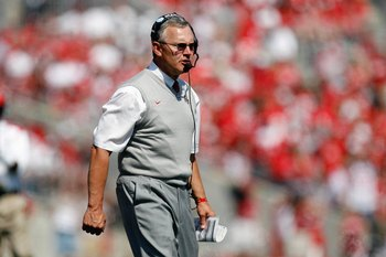COLUMBUS, OH - SEPTEMBER 20:  Head coach Jim Tressel of the Ohio State Buckeyes walks on the sidelines during the game against the Troy Trojans on September 20, 2008 at Ohio Stadium in Columbus, Ohio. Ohio State won the game 28-10. (Photo by Gregory Shamu