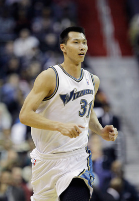 WASHINGTON, DC - MARCH 14:  Yi Jianlian #31 of the Washington Wizards during the first half against the Oklahoma City Thunder at the Verizon Center on March 14, 2011 in Washington, DC. NOTE TO USER: User expressly acknowledges and agrees that, by download