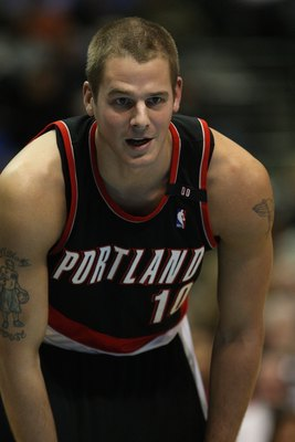DALLAS - FEBRUARY 04:  Joel Przybilla #10 of the Portland Trail Blazers during play against the Dallas Mavericks on February 4, 2009 at American Airlines Center in Dallas, Texas.  NOTE TO USER: User expressly acknowledges and agrees that, by downloading a