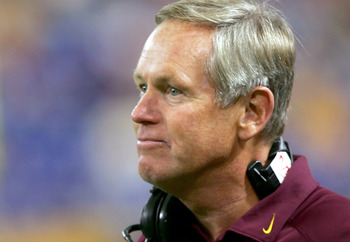 MINNEAPOLIS - SEPTEMBER 10:  Head coach Glen Mason of the Minnesota Golden Gophers looks on from the sideline during the game against the Colorado State Rams on September 10, 2005 at H.H.H. Metrodome in Minneapolis, Minnesota. Minnesota defeated Colorado