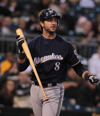 PITTSBURGH, PA - APRIL 13:  Ryan Braun #8 of the Milwaukee Brewers walks to the dugout after striking out during their game against the Pittsburgh Pirates at PNC Park on April 13, 2011 in Pittsburgh, Pennsylvania.  (Photo by Scott Halleran/Getty Images)