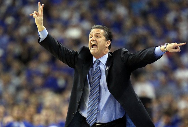 HOUSTON, TX - APRIL 02:  Head coach John Calipari of the Kentucky Wildcats shouts from the sidelines against the Connecticut Huskies during the National Semifinal game of the 2011 NCAA Division I Men's Basketball Championship at Reliant Stadium on April 2