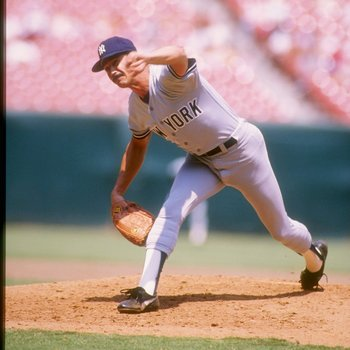 1987:  Ron Guidry of the New York Yankees in action during a game against the California Angels at Anaheim Stadium in Anaheim, California.  Mandatory Credit: Tim de Frisco  /Allsport