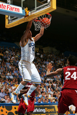 WESTWOOD, CA - JANUARY 31:  Drew Gordon #0 of the UCLA Bruins goes up for the slam dunk in the second half during their NCAA basketball game against Stanford Cardinal at Pauley Pavilion on January 31, 2009 in Westwood, California. The Bruins defeated the
