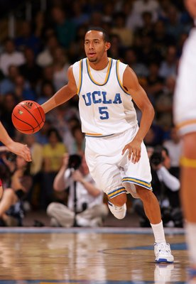 WESTWOOD, CA - JANUARY 31:  Jerime Anderson #5 of the UCLA Bruins dribbles the ball through mid-court during their NCAA basketball game against the Stanford Cardinal at Pauley Pavilion on January 31, 2009 in Westwood, California. The Bruins defeated the C