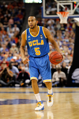 TAMPA, FL - MARCH 19:  Jerime Anderson #5 of the UCLA Bruins look to pass aagainst the Florida Gators during the third round of the 2011 NCAA men's basketball tournament at St. Pete Times Forum on March 19, 2011 in Tampa, Florida. Florida won 73-65.  (Pho