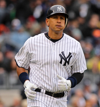 NEW YORK, NY - MARCH 31:  Alex Rodriguez #13 of the New York Yankees runs to first base during the game against the Detroit Tigers on Opening Day at Yankee Stadium on March 31, 2011 in New York City.  (Photo by Nick Laham/Getty Images)