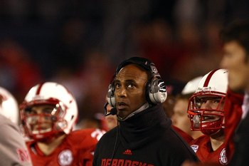 SAN DIEGO - DECEMBER 30:  Assistant Coach Ron Brown of the University of Nebraska Cornhuskers looks on from the sideline during the Pacific Life Holiday Bowl against University of Arizona Wildcats on December 30, 2009 at Qualcomm Stadium in San Diego, Cal
