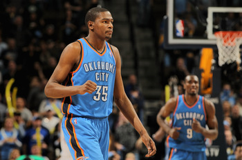 DENVER, CO - APRIL 23:  Kevin Durant #35 of the Oklahoma City Thunder looks on against the Denver Nuggets in Game Three of the Western Conference Quarterfinals in the 2011 NBA Playoffs on April 23, 2011 at the Pepsi Center in Denver, Colorado. NOTE TO USE