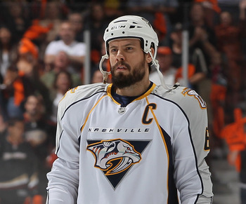ANAHEIM, CA - APRIL 15:  Shea Weber #6 of the Nashville Predators looks on prior to the start of Game Two of the Western Conference Quarterfinals against the Anaheim Ducks during the 2011 NHL Stanley Cup Playoffs at Honda Center on April 15, 2011 in Anahe
