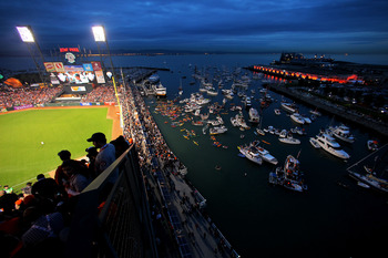 SAN FRANCISCO - OCTOBER 27:  Boaters and fans congregate in McCovey Cove outside of AT&T Park during Game One of the 2010 MLB World Series between the Texas Rangers and the San Francisco Giants on October 27, 2010 in San Francisco, California.  (Photo by