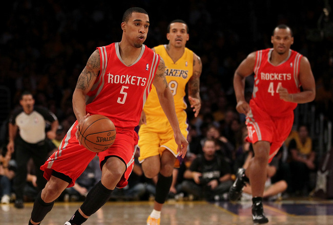 LOS ANGELES, CA - OCTOBER 26:  Courtney Lee #5 of the Houston Rockets drives with the ball against the Los Angeles Lakers during their opening night game at Staples Center on October 26, 2010 in Los Angeles, California. NOTE TO USER: User expressly acknow
