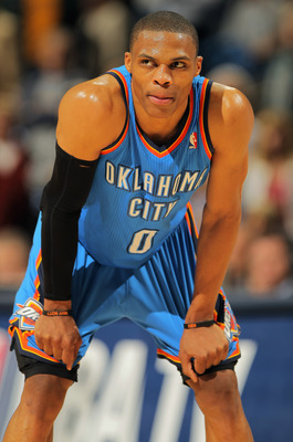 DENVER, CO - APRIL 23:  Russell Westbrook #0 of the Oklahoma City Thunder looks on against the Denver Nuggets in Game Three of the Western Conference Quarterfinals in the 2011 NBA Playoffs on April 23, 2011 at the Pepsi Center in Denver, Colorado. NOTE TO