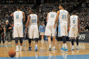 DENVER, CO - APRIL 23:  J.R. Smith #5, Raymond Felton #20, Chris Andersen #11, Wilson Chandler #21 and Ty Lawson #3 of the Denver Nuggets head to the bench during a time out against the Oklahoma City Thunder in Game Three of the Western Conference Quarter