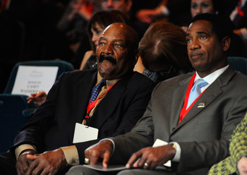 LOS ANGELES, CA - FEBRUARY 01:  Football greats Jim Brown (L) and Mike Haynes attend an event announcing naming rights for the new football stadium Farmers Field at Los Angeles Convention Center on February 1, 2011 in Los Angeles, California. AEG has repo