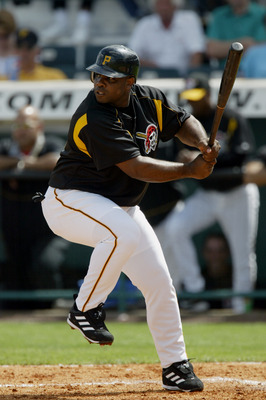 BRADENTON, FL - MARCH 4:  Infielder Randall Simon #35 of the Pittsburgh Pirates up at bat against the Cinncinati Reds  during Spring Training March 4, 2004 at McKechnie Field  in Bradenton, Florida. (Photo by Eliot J. Schechter/Getty Images)