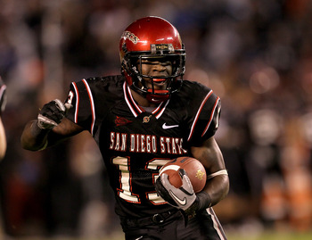 SAN DIEGO - NOVEMBER 20:  Running back Ronnie Hillman #13 of the San Deigo State Aztecs carries the ball on a five yard touchdown run in the second quarter against the Utah Utes at Qualcomm Stadium on November 20, 2010 in San Diego, California.  (Photo by