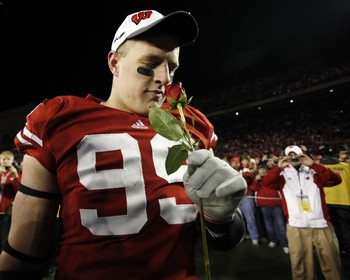 JJ Watt after the Badgers defeated Northwestern University to earn their place in the Rose Bowl