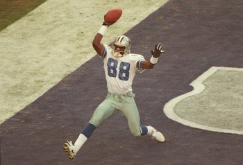 28 Jan 1996:  Wide receiver Michael Irvin of the Dallas Cowboys celebrates after what was thought to be a touchdown against the Pittsburgh Steelers in the second quarter of Super Bowl XXX at Sun Devil Stadium in Tempe, Arizona.  The touchdown was nullifie