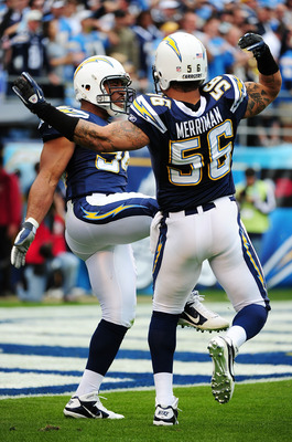 SAN DIEGO - JANUARY 17:  Linebackers Shawne Merriman #56 and  Stephen Cooper #54 of the San Diego Chargers celebrate a defensive play against the New York Jets during the AFC Divisional Playoff Game at Qualcomm Stadium on January 17, 2010 in San Diego, Ca