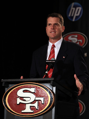 New 49ers head coach Jim Harbaugh has some personnel decisions to make right away.