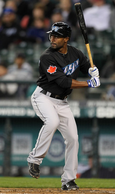 SEATTLE, WA - APRIL 13:  Corey Patterson #16 of the Toronto Blue Jays bats against the Seattle Mariners at Safeco Field on April 13, 2011 in Seattle, Washington. (Photo by Otto Greule Jr/Getty Images)