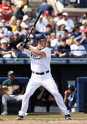 PEORIA, AZ - MARCH 06:  Ryan Ludwick #47 of the San Diego Padres bats against the Oakland Athletics during the spring training game at Peoria Stadium on March 6, 2011 in Peoria, Arizona.  (Photo by Christian Petersen/Getty Images)
