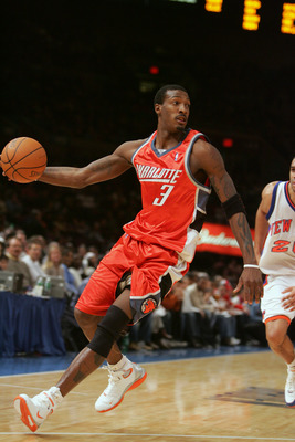 NEW YORK - DECEMBER 26:  Gerald Wallace #3 of the Charlotte Bobcats controls the ball against the New York Knicks during the game on December 26, 2004 at Madison Square Garden in New York City, New York. The Knicks won 91-82.  NOTE TO USER: User expressly