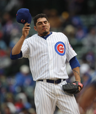 CHICAGO, IL - APRIL 20: Starting pitcher Matt Garza #17 of the Chicago Cubs reacts after walking the bases loaded in the 6th inning against the San Diego Padres at Wrigley Field on April 20, 2011 in Chicago, Illinois. The Cuns defeated the Padres 2-1 in 1
