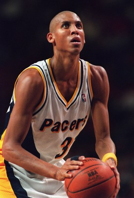13 Dec 1994: REGGIE MILLER OF THE INDIANA PACERS SHOOTS A FOUL SHOT DURING A 109-104 LOSS TO THE HOUSTON ROCKETS IN INDIANAPOLIS, INDIANA.