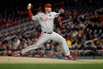 WASHINGTON, DC - APRIL 13:  Roy Halladay #34 of the Philadelphia Phillies delivers to a Washington Nationals batter at Nationals Park on April 13, 2011 in Washington, DC.  (Photo by Rob Carr/Getty Images)