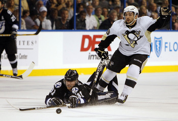 TAMPA, FL - APRIL 25: Steven Stamkos #91 of the Tampa Bay Lightning tangles with Chris Conner #16 of the Pittsburgh Penguins in Game Six of the Eastern Conference Quarterfinals during the 2011 NHL Stanley Cup Playoffs at the St. Pete Times Forum on April