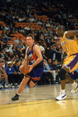 INGLEWOOD - APRIL 11:  Steve Nash #13 of the Phoenix Suns dribbles the ball during the game against the Los Angeles Lakersa at The Forum on April 11,1997 in Inglewood, California. The Lakers won 114-98.  NOTE TO USER: User expressly acknowledges and agree